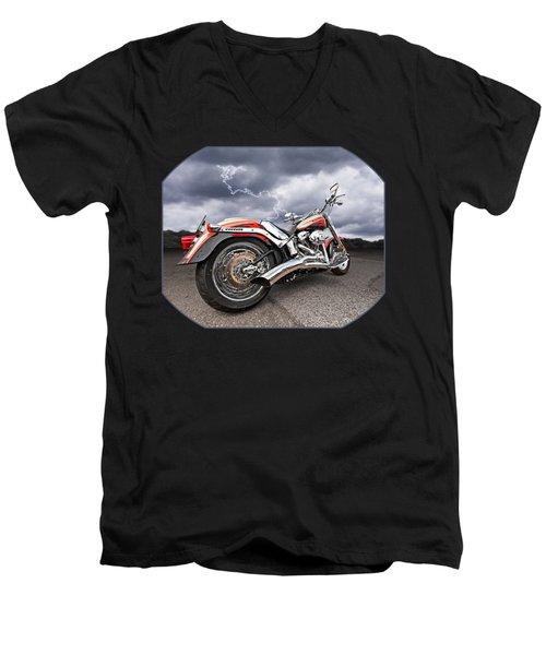 Lightning Fast - Screamin' Eagle Harley Men's V-Neck T-Shirt by Gill Billington