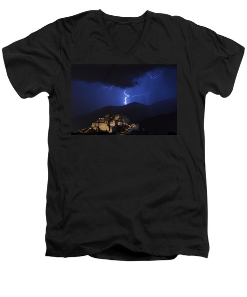 Men's V-Neck T-Shirt featuring the photograph Lightning Over Potala Palace, Lhasa, 2007 by Hitendra SINKAR