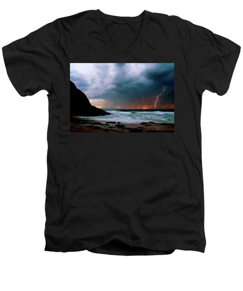 Lightning Strike Off Dana Point California Men's V-Neck T-Shirt