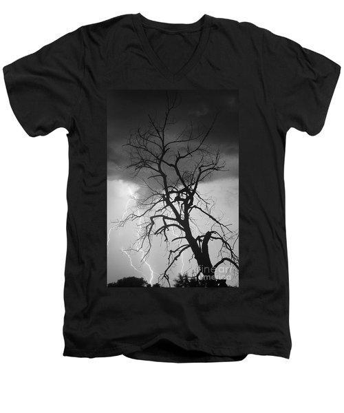 Lightning Tree Silhouette Portrait Bw Men's V-Neck T-Shirt