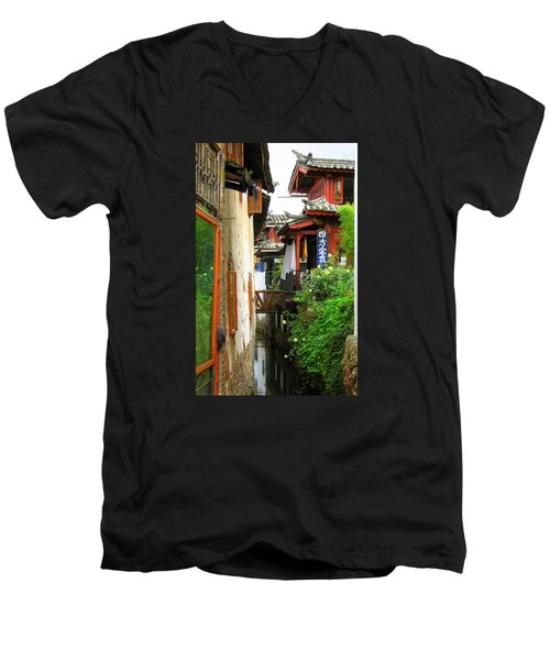 Lijiang Back Canal Men's V-Neck T-Shirt by Carla Parris