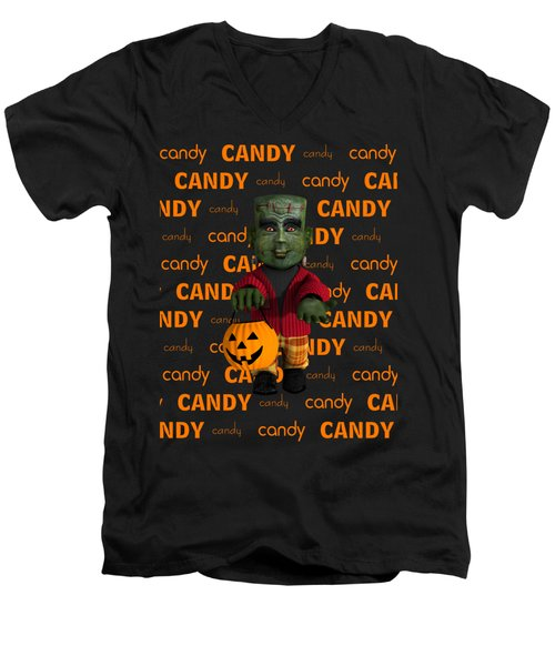 Men's V-Neck T-Shirt featuring the digital art Lil Monster Halloween by Methune Hively