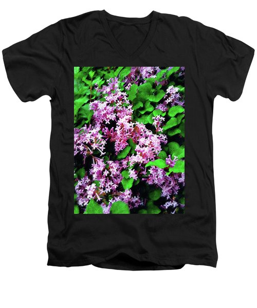 Men's V-Neck T-Shirt featuring the painting Lilacs In May by Sandy MacGowan