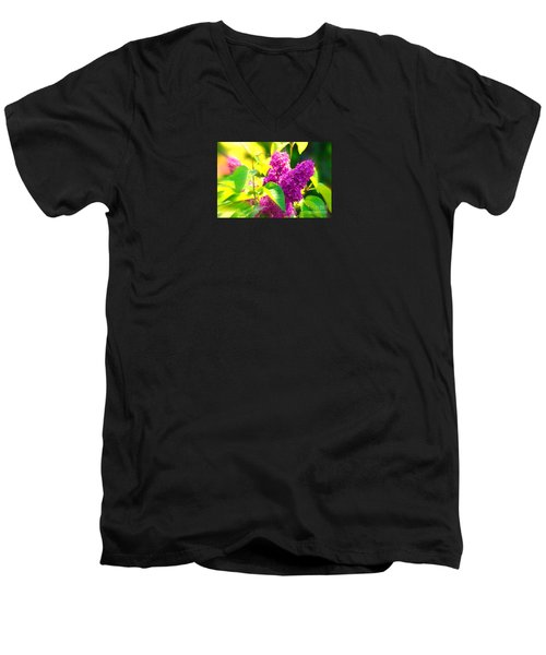 Men's V-Neck T-Shirt featuring the photograph Lilacs by Susanne Van Hulst