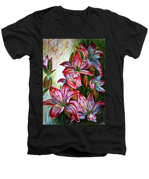 Men's V-Neck T-Shirt featuring the painting Lilies by Harsh Malik