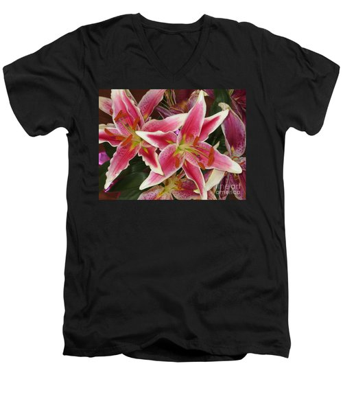 Lilies Men's V-Neck T-Shirt by Tim Townsend