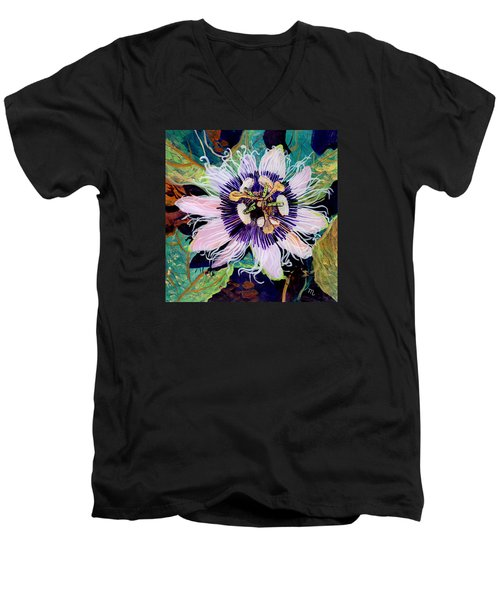 Men's V-Neck T-Shirt featuring the painting Lilikoi by Marionette Taboniar