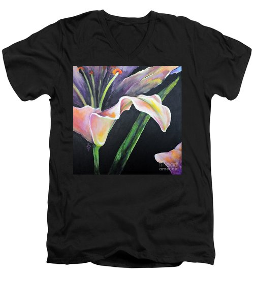 Men's V-Neck T-Shirt featuring the painting Lily by Jodie Marie Anne Richardson Traugott          aka jm-ART
