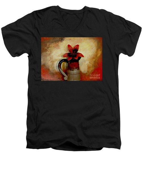 Lily Lovely Men's V-Neck T-Shirt by Marsha Heiken