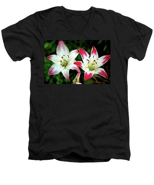 Men's V-Neck T-Shirt featuring the photograph Lily Pink Reflections by LeeAnn McLaneGoetz McLaneGoetzStudioLLCcom