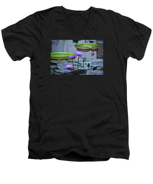 Lily Pond Wonders Men's V-Neck T-Shirt by Maria Urso