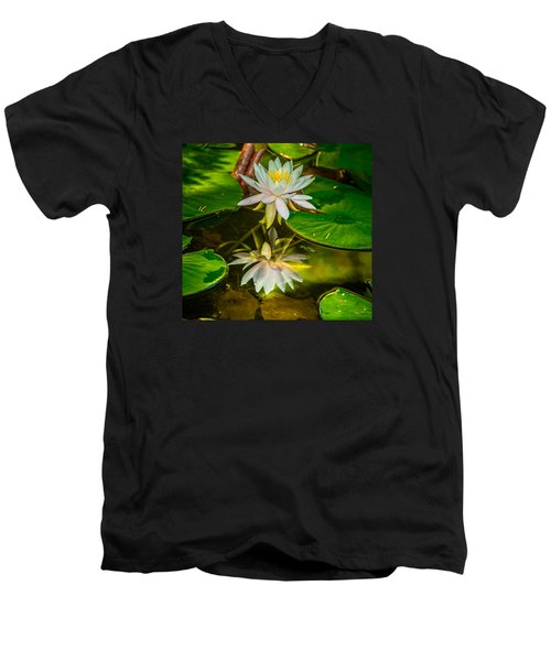 Men's V-Neck T-Shirt featuring the photograph Lily Reflection by Jerry Cahill