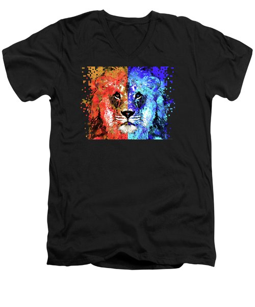 Men's V-Neck T-Shirt featuring the painting Lion Art - Majesty - Sharon Cummings by Sharon Cummings