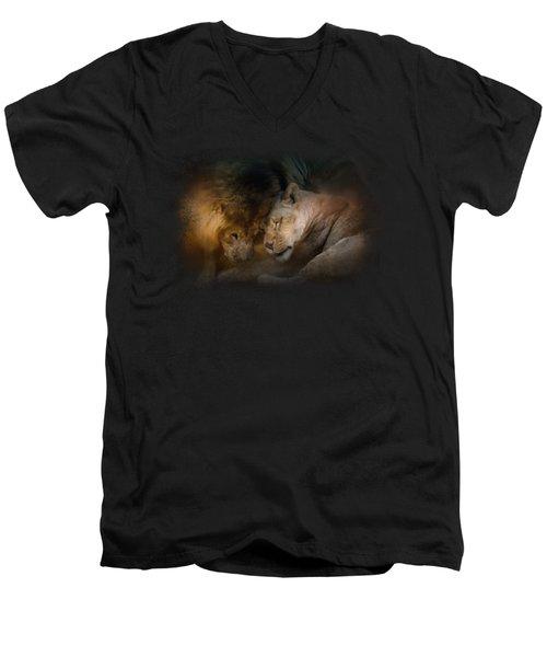 Lion Love Men's V-Neck T-Shirt by Jai Johnson