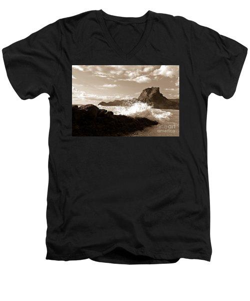 Lion Rock On Piha Beach, New Zealand Men's V-Neck T-Shirt by Yurix Sardinelly