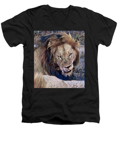 Lion With Tongue Men's V-Neck T-Shirt