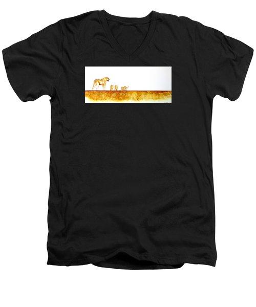Lioness And Cubs - Original Artwork Men's V-Neck T-Shirt