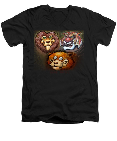 Lions And Tigers And Bears Oh My Men's V-Neck T-Shirt by Kevin Middleton