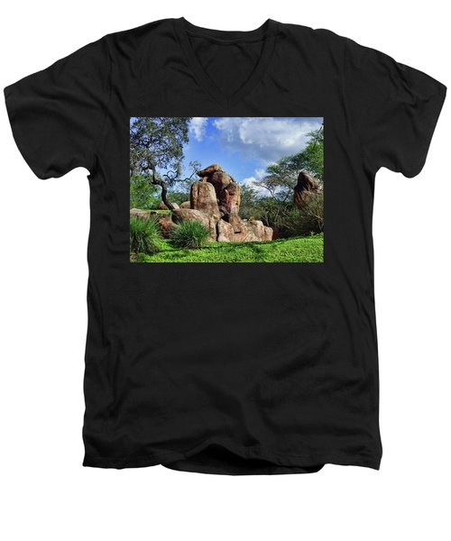 Men's V-Neck T-Shirt featuring the photograph Lions On The Rock by B Wayne Mullins