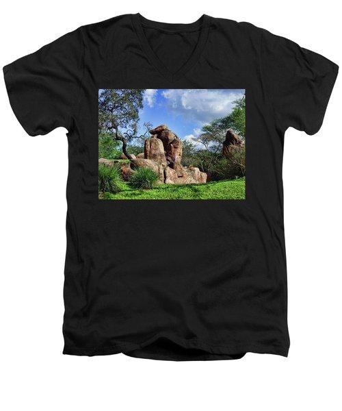 Lions On The Rock Men's V-Neck T-Shirt by B Wayne Mullins
