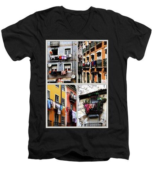 Men's V-Neck T-Shirt featuring the photograph Lisbon Laundry by Lorraine Devon Wilke