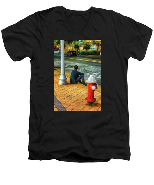 Listening  Men's V-Neck T-Shirt by Beth Akerman