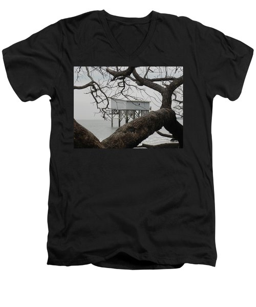 Men's V-Neck T-Shirt featuring the photograph Little Blue Gone But Not Forgotten by Patricia Greer