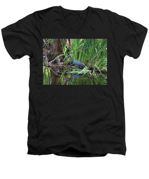 Men's V-Neck T-Shirt featuring the photograph Little Blue Heron by Sandy Keeton