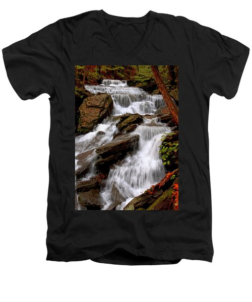 Men's V-Neck T-Shirt featuring the photograph Little Four Mile Run Falls by Suzanne Stout