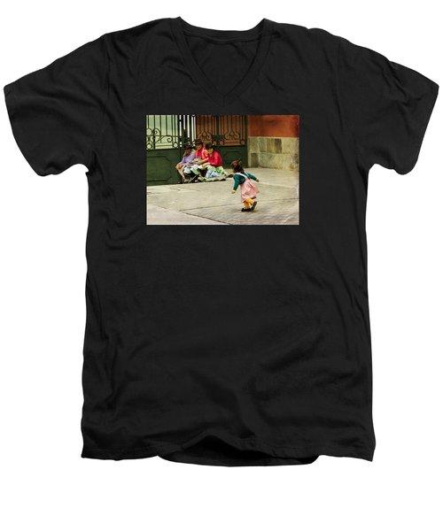 Little Girl On The Streets Of Lima, Peru Men's V-Neck T-Shirt