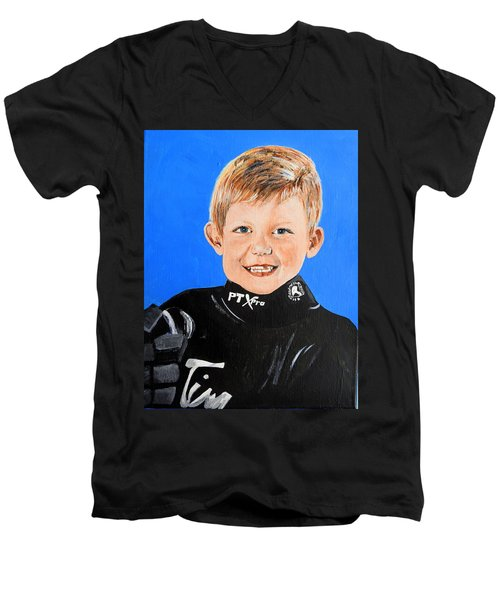 Men's V-Neck T-Shirt featuring the painting Little Mister G by Betty-Anne McDonald