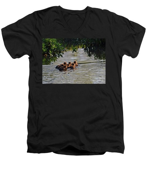 Little Quackers Looking For Mama Men's V-Neck T-Shirt by Debby Pueschel