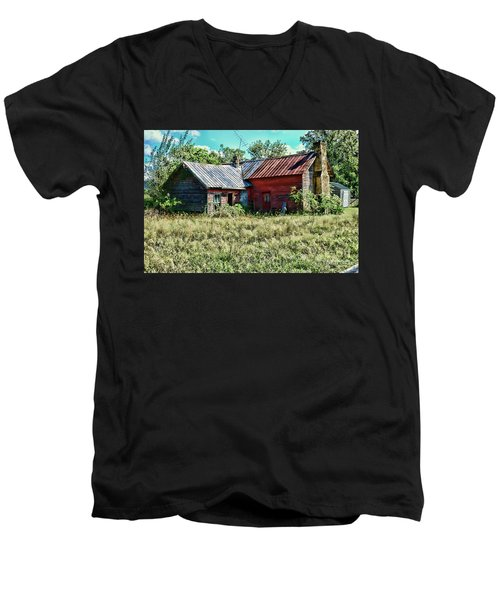 Men's V-Neck T-Shirt featuring the photograph Little Red Farmhouse by Paul Ward