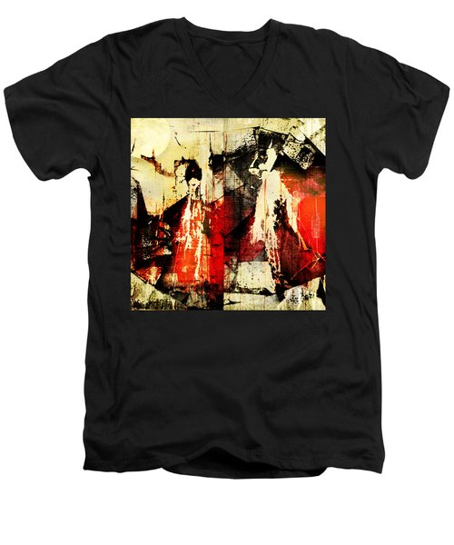 Little Red Riding Hood And The Big Bad Wolf Under A Yellow Moon Men's V-Neck T-Shirt by Jeff Burgess