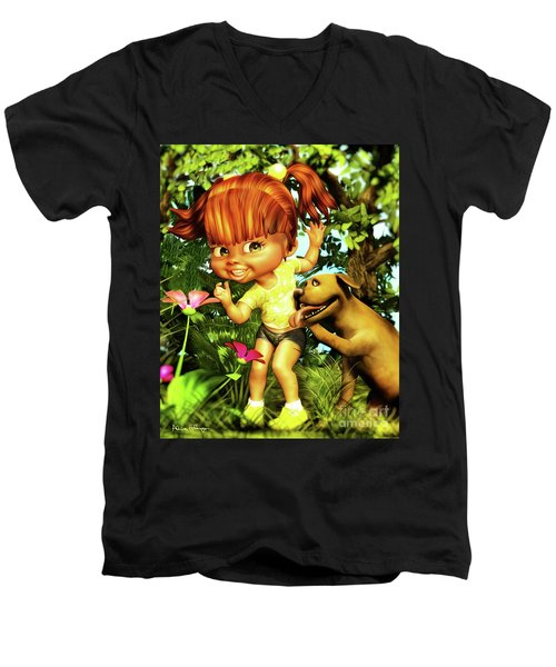 Little Redhead And Her Dog Men's V-Neck T-Shirt