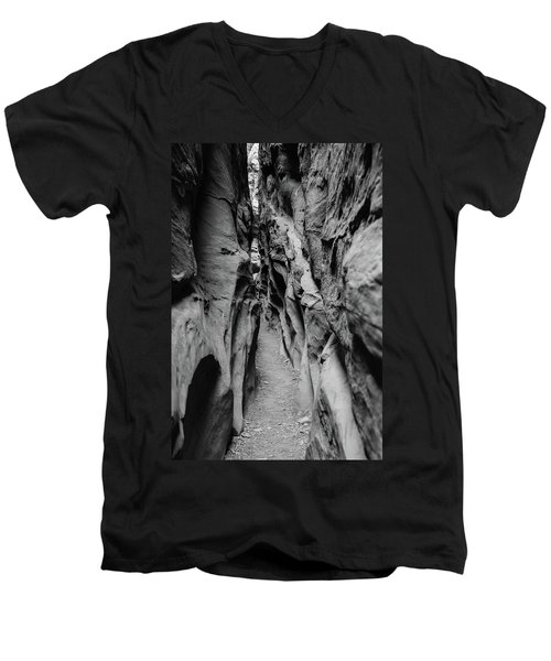 Men's V-Neck T-Shirt featuring the photograph Little Wild Horse Canyon Bw by Jennifer Ancker