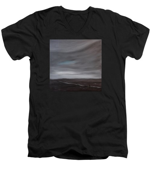 Men's V-Neck T-Shirt featuring the painting Little Woman In Large Landscape by Tone Aanderaa