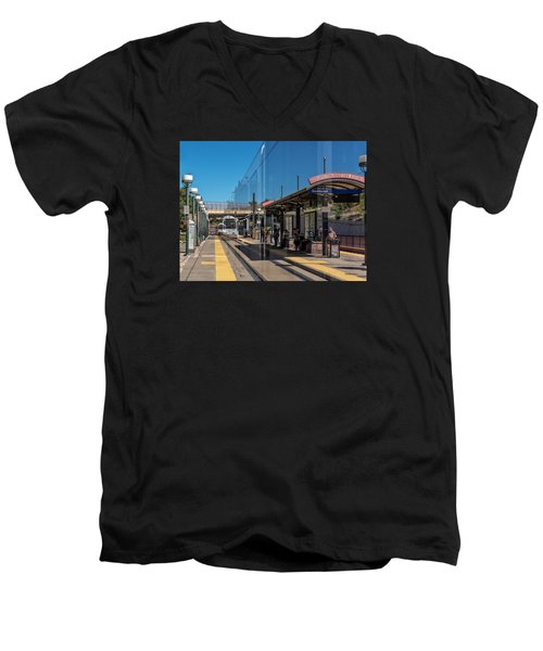 Men's V-Neck T-Shirt featuring the photograph Littleton Rtd Light Rail Station by Stephen  Johnson