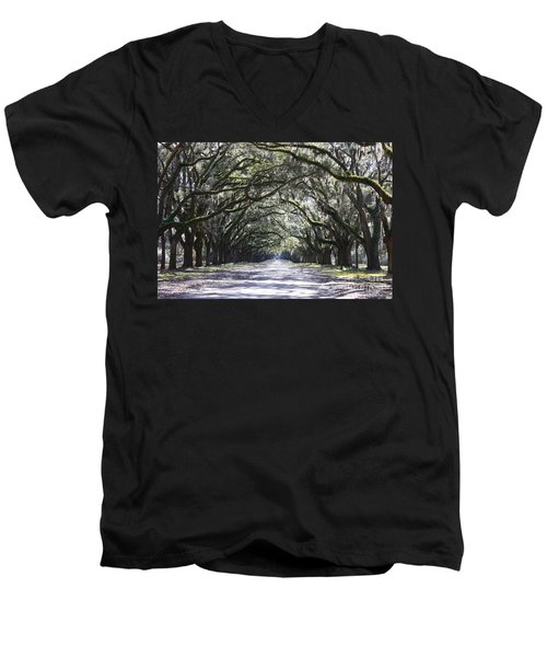 Live Oak Lane In Savannah Men's V-Neck T-Shirt