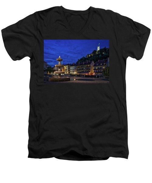 Men's V-Neck T-Shirt featuring the photograph Ljubljana Night Scene #2 - Slovenia by Stuart Litoff