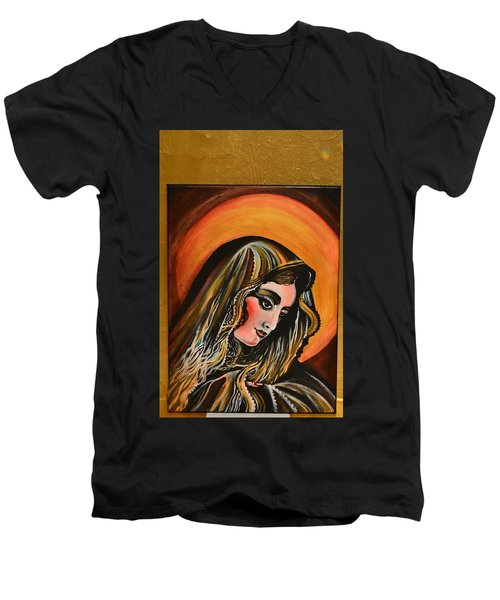Men's V-Neck T-Shirt featuring the painting lLady of sorrows by Sandro Ramani