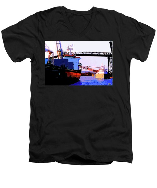 Loading The Iron Ore On The Great Lakes Freighters Men's V-Neck T-Shirt