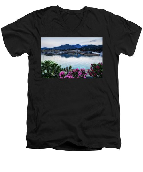 Loano Sunset Over Sea And Mountains With Flowers Men's V-Neck T-Shirt
