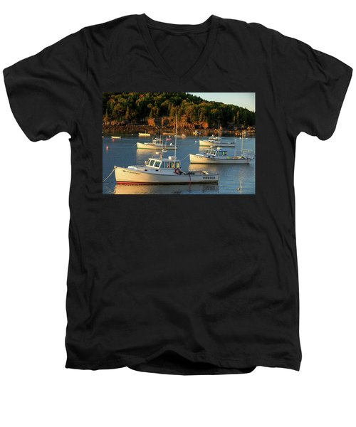 Men's V-Neck T-Shirt featuring the photograph Lobster Boats At Bar Harbor Me  by Emmanuel Panagiotakis