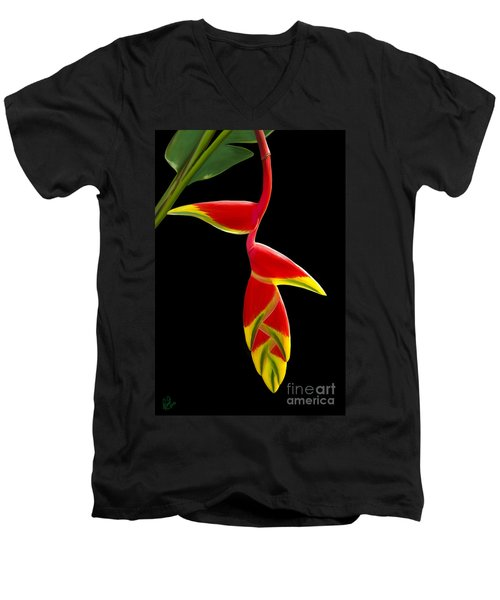 Men's V-Neck T-Shirt featuring the painting Lobster Claw by Rand Herron
