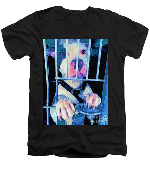 Men's V-Neck T-Shirt featuring the digital art Locked Up by Kathy Tarochione