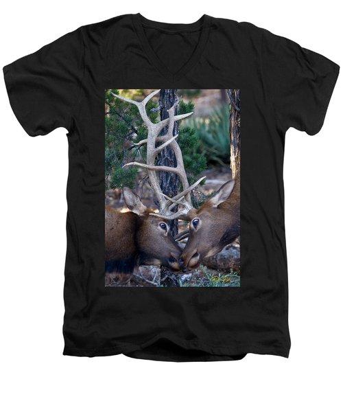 Locking Horns - Well Antlers Men's V-Neck T-Shirt