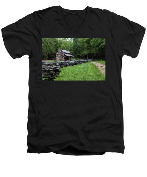 Log Cabin Men's V-Neck T-Shirt by David Cote
