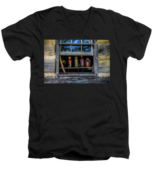 Men's V-Neck T-Shirt featuring the photograph Log Cabin Window by Paul Freidlund