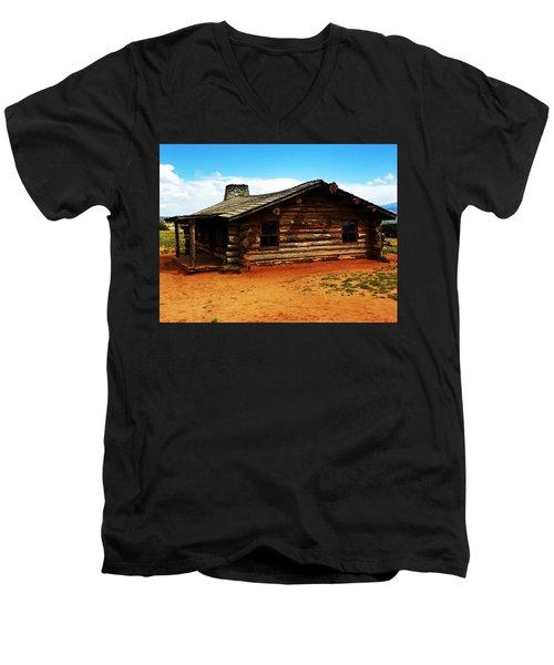 Log Cabin Yr 1800 Men's V-Neck T-Shirt by Joseph Frank Baraba